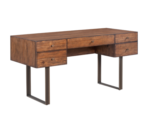 BRADY RUSTIC SMOKED BROWN WOOD BASE WITH BRONZE STEEL LEGS DESK for $2250.00