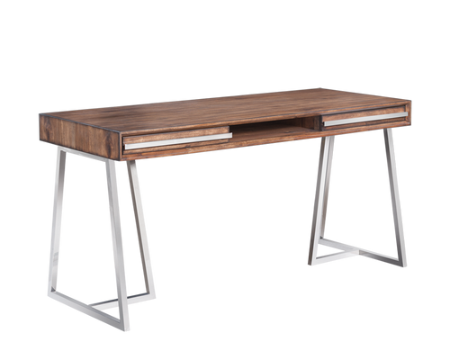 ALAN SMOKED BROWN ACACIA WOOD VENEER FRAME WITH POLISHED STAINLESS STEEL BASE DESK for $1700.00