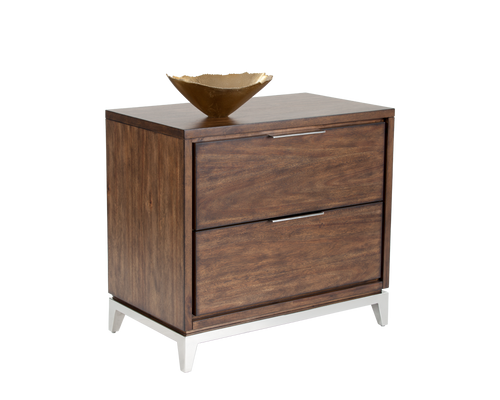MIRA ACACIA VENEER WITH STAINLESS STEEL BASE NIGHTSTAND for $1200.00