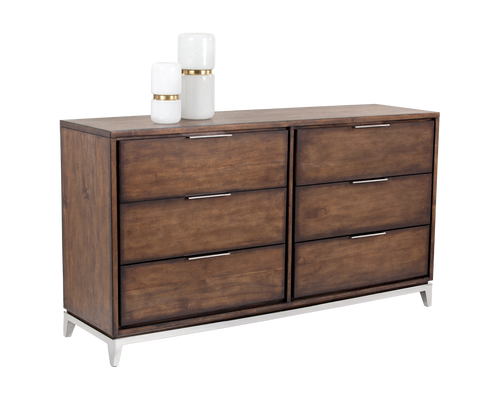 MIRA ACACIA VENEER WITH STAINLESS STEEL BASE DRESSER for $2600.00