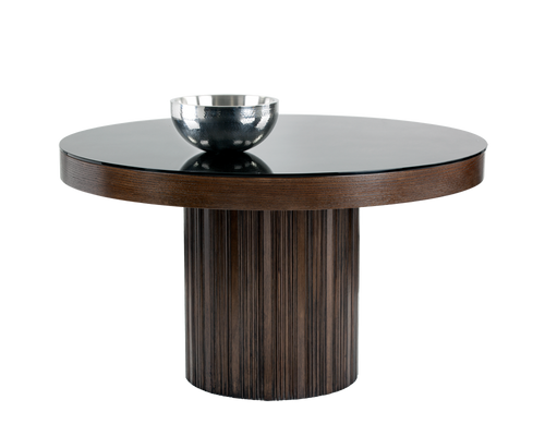 "JAKAR SOLID ESPRESSO WOOD WITH BLACK TEMPERED GLASS TOP ROUND DINING TABLE 51"" for $1900.00"