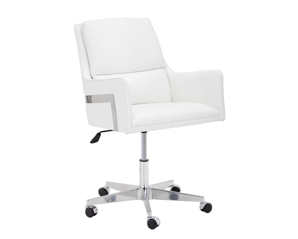 Pleasing Thores Adjustable White Faux Leather Seat And Cushioned Seat Back Swivel Office Chair Bright Modern Furniture Ibusinesslaw Wood Chair Design Ideas Ibusinesslaworg