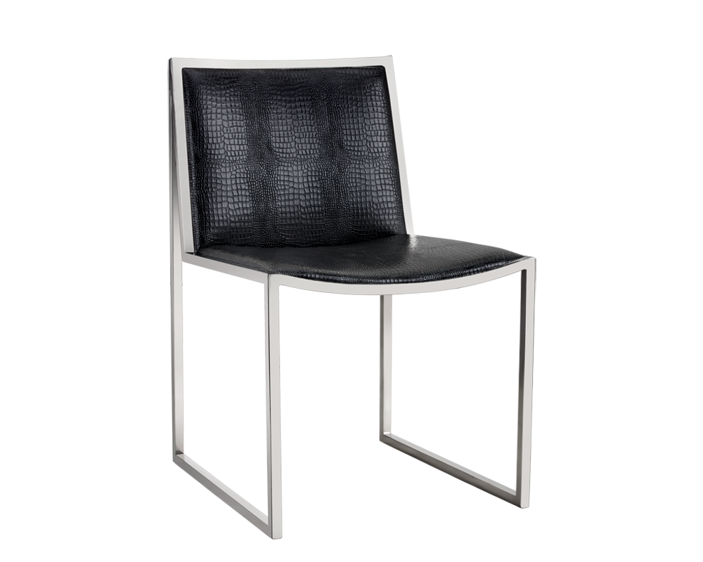 BLAKE BLACK FAUX LEATHER CROCODILE PATTERNED SEAT WITH STAINLESS STEEL  FRAME DINING CHAIR
