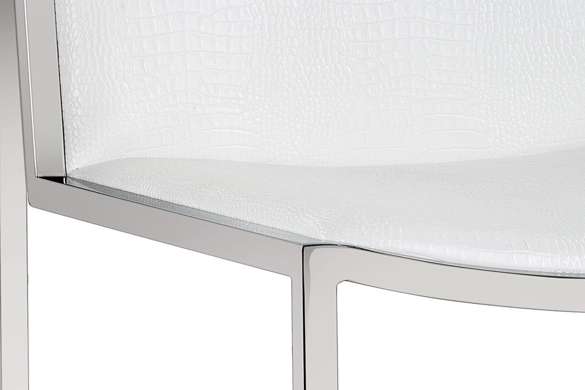 ... BLAKE WHITE FAUX LEATHER CROCODILE PATTERNED SEAT WITH STAINLESS STEEL  FRAME DINING CHAIR ...
