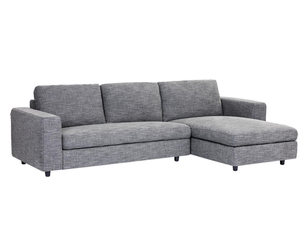 ENTHRALL QUARRY FABRIC SEATS WITH BLACK SOLID WOOD LEGS SOFA CHAISE RAF -  BRIGHT MODERN FURNITURE
