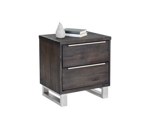 RHODOS SOLID ACACIA WOOD WITH BRUSHED STAINLESS STEEL LEGS NIGHTSTAND for $950.00