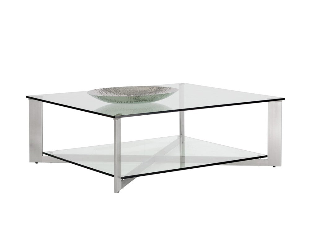 Tremendous Javier Brushed Stainless Steel Frame With Tempered Glass Top Square Coffee Table Bright Modern Furniture Interior Design Ideas Oxytryabchikinfo