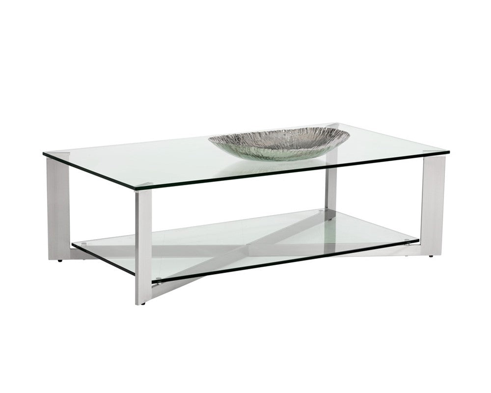 Javier Brushed Stainless Steel Frame With Tempered Glass Top Rectangul