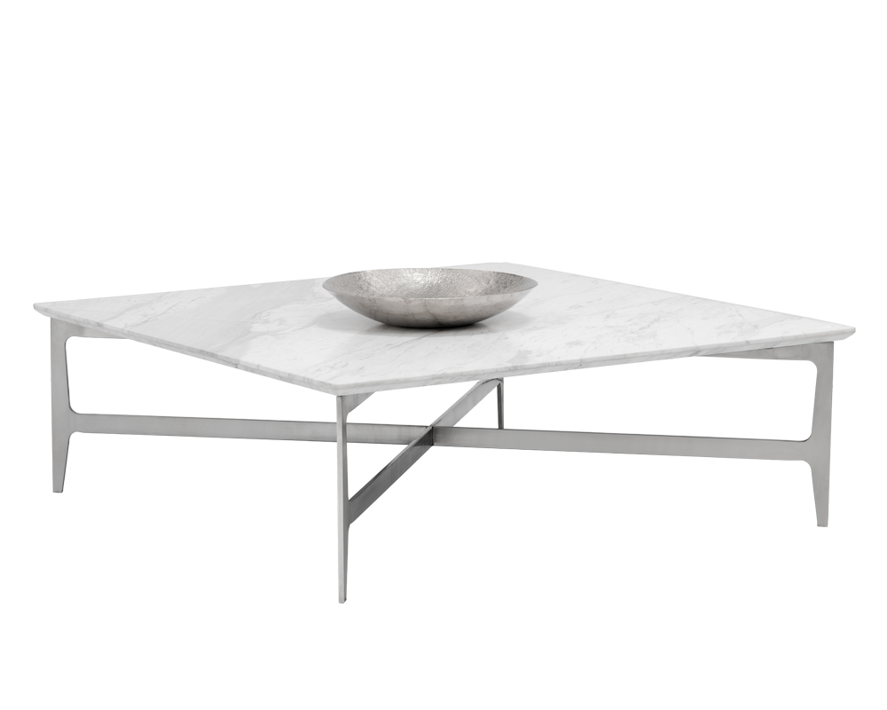 Clare Square White Marble Coffee Table