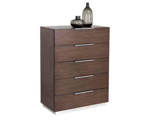 CONRAD SOLID OAK WOOD AND WOOD VENEER WITH BRUSHED STAINLESS STEEL BASE CHEST for $1860.00