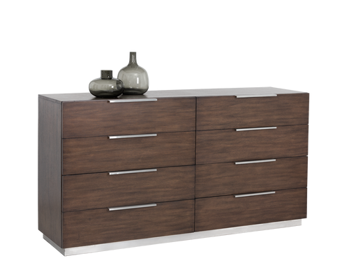 CONRAD SOLID OAK WOOD AND WOOD VENEER WITH BRUSHED STAINLESS STEEL BASE DRESSER for $2600.00