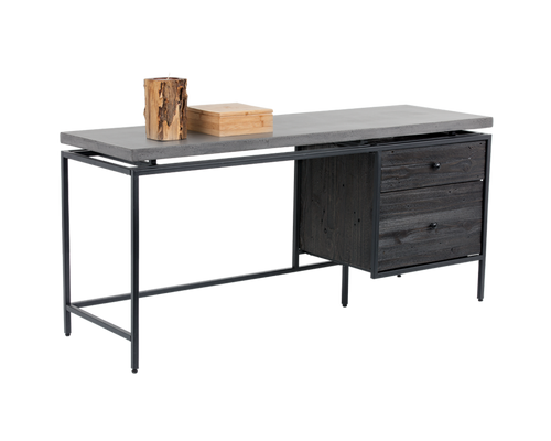 ORMEWOOD BLACK METAL FRAME-PINE WOOD DRAWER IN COFFEE BEAN FINISH WITH GREY CONCRETE TOP DESK for $2350.00