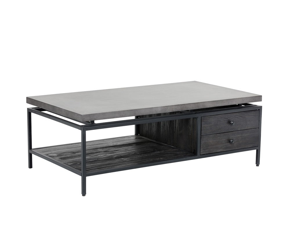 ORMEWOOD BLACK METAL FRAME PINE WOOD DRAWER IN COFFEE BEAN FINISH WITH GREY  CONCRETE TOP