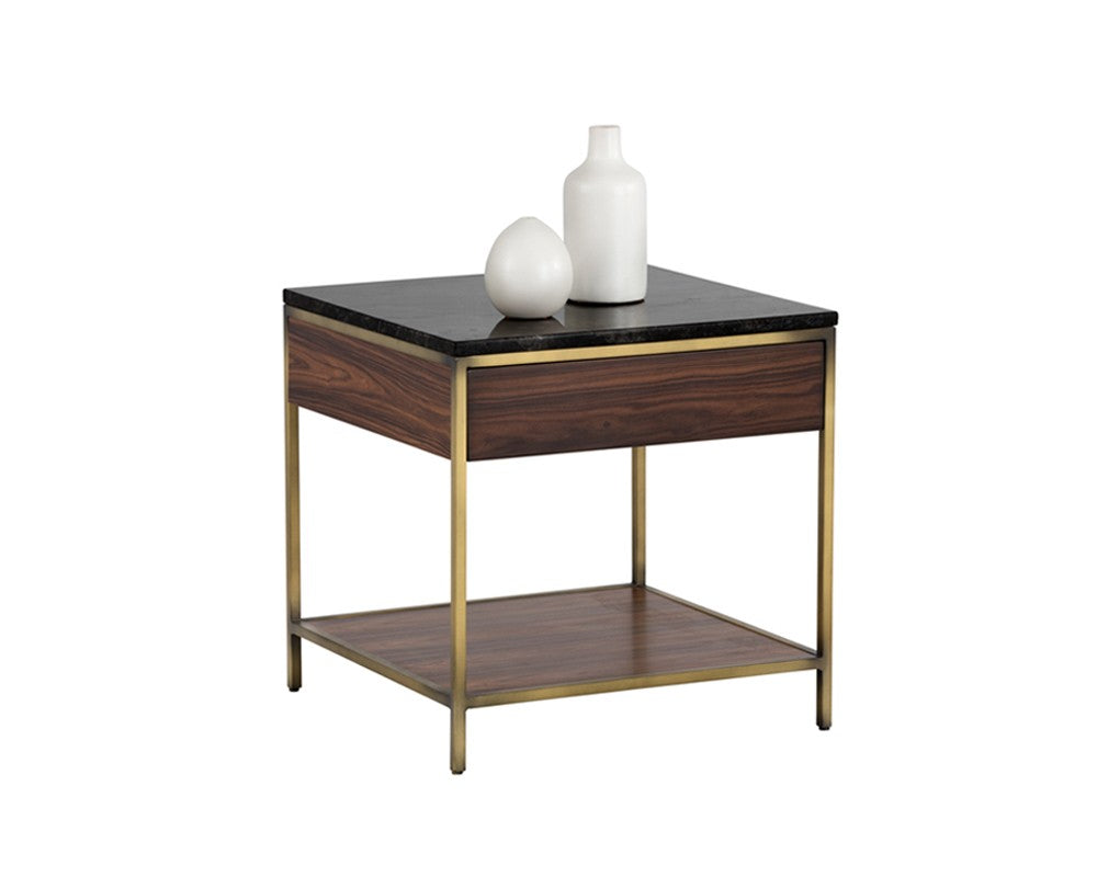 marble top end tables. STAMP YELLOW POPLAR WOOD SURROUNDING METAL FRAME WITH ANTIQUE BRASS FINISH SOLID BLACK MARBLE TOP END Marble Top End Tables
