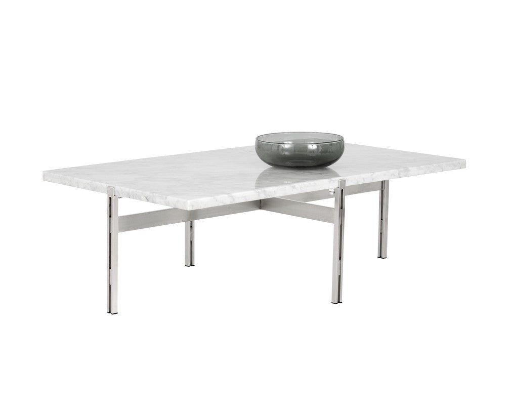 Endy White Marble Brushed Dark Stainless Steel Coffee Table