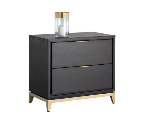 EDMOND BRUSHED YELLOW GOLD BRASS BASE WITH ACACIA WOOD VENEER SMOKED GREY NIGHTSTAND for $1700.00