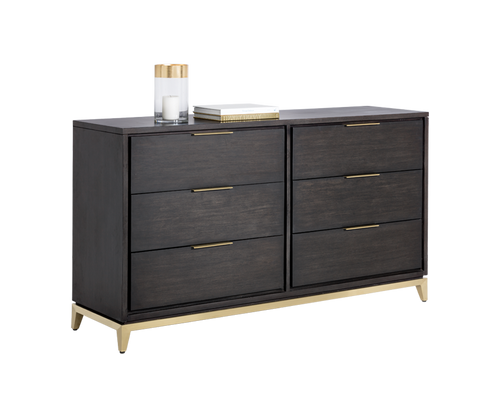 EDMOND BRUSHED YELLOW GOLD BRASS BASE WITH ACACIA WOOD VENEER SMOKED GREY DRESSER for $2800.00
