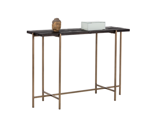 ROHA ANTIQUE BRASS FINISH BASE WITH BLACK PLANKS OF RECYCLED PINE TOP CONSOLE TABLE for $1140.00