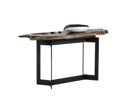 WITT BLACK STEEL FRAME WITH SOLID TEAK ROOT WOOD PAINTED BLACK TOP CONSOLE TABLE for $1990.00