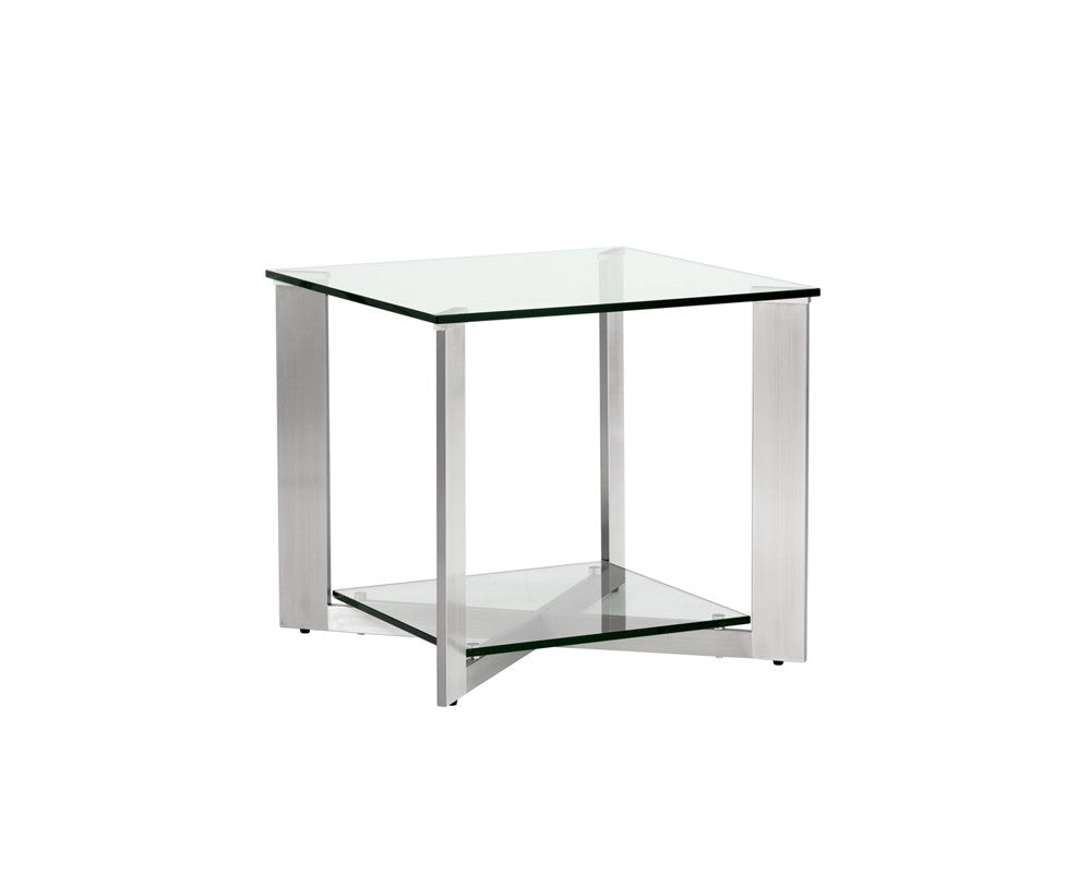 JAVIER BRUSHED STAINLESS STEEL FRAME WITH TEMPERED GLASS TOP END TABLE