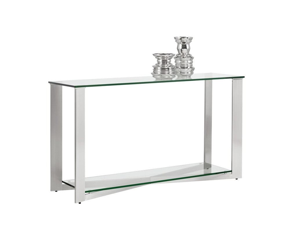 JAVIER BRUSHED STAINLESS STEEL FRAME WITH TEMPERED GLASS TOP CONSOLE TABLE