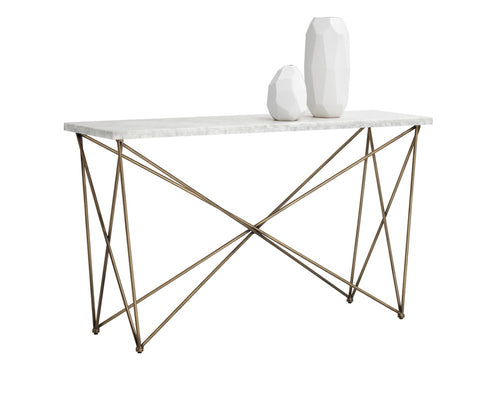 SKY ANTIQUE BRASS FINISH FRAME WITH CARRARA TOP CONSOLE TABLE for $2010.00