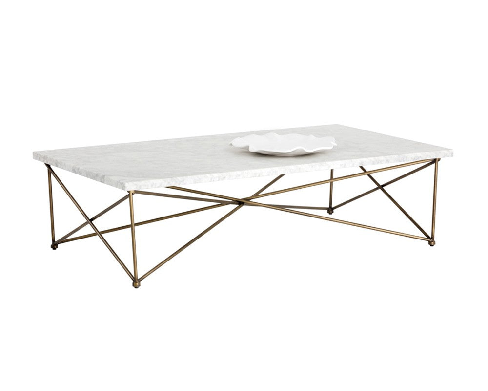 Marble Top Brass Coffee Table.Sky Antique Brass Finish Frame With Carrara Top Coffee Table Bright Modern Furniture