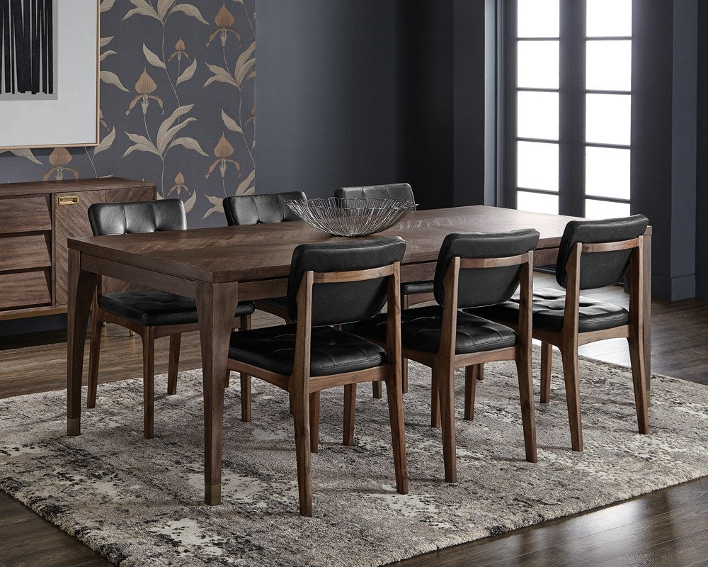 ... GRAYSON ACACIA WOOD HANDCRAFTED CHEVRON PATTERN WITH BRASS NICKEL CAPS  DINING TABLE ...