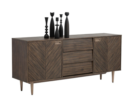 GRAYSON ACACIA WOOD HANDCRAFTED CHEVRON PATTERN WITH BRASS NICKEL CAPS SIDEBOARD for $2600.00
