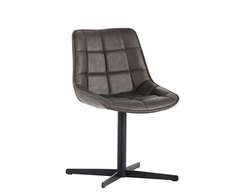 AMELIA SWIVEL LEATHER DINING CHAIR - DARK BROWN for $775.00