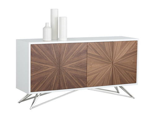 PILE STAINLESS STEEL FRAME WITH STARBURST PATTERN WALNUT WOOD VENEER TOP SIDEBOARD for $2790.00