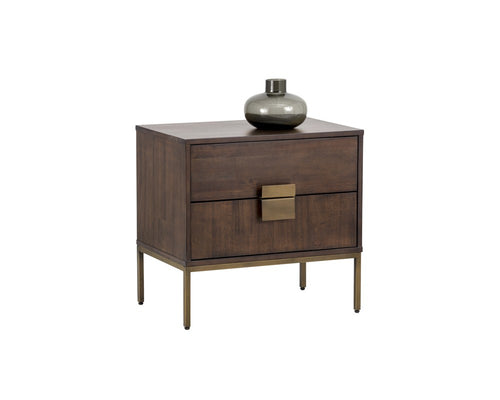 JANE ACACIA WOOD VENEER WITH ANTIQUE BRASS BASE NIGHTSTAND for $990.00