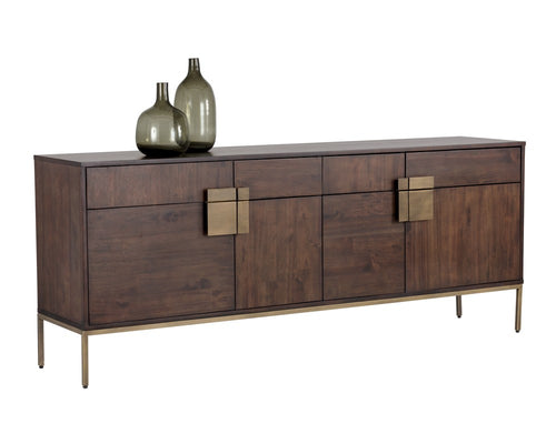 JANE ACACIA WOOD VENEER WITH ANTIQUE BRASS BASE SIDEBOARD for $2660.00