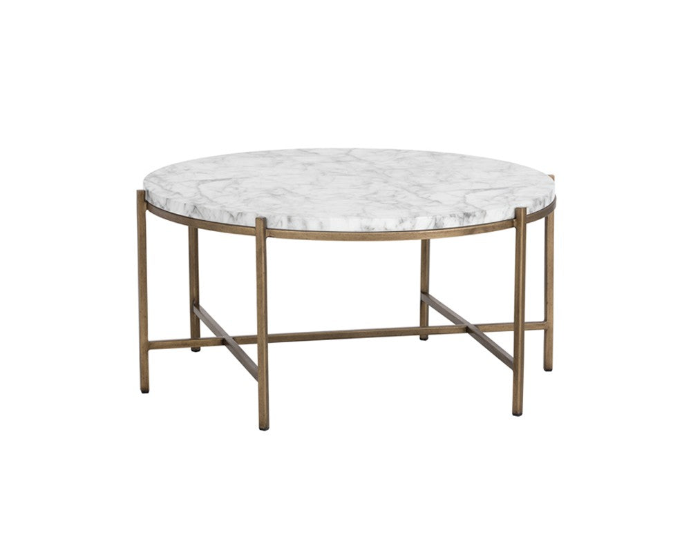 Marble Top Brass Coffee Table.Solan Brushed Antique Brass Steel Base Carrara Marble Top Round Coffee Table