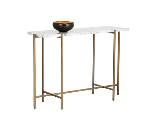 SOLAN BRUSHED ANTIQUE BRASS STEEL BASE CARRARA MARBLE TOP CONSOLE TABLE for $960.00