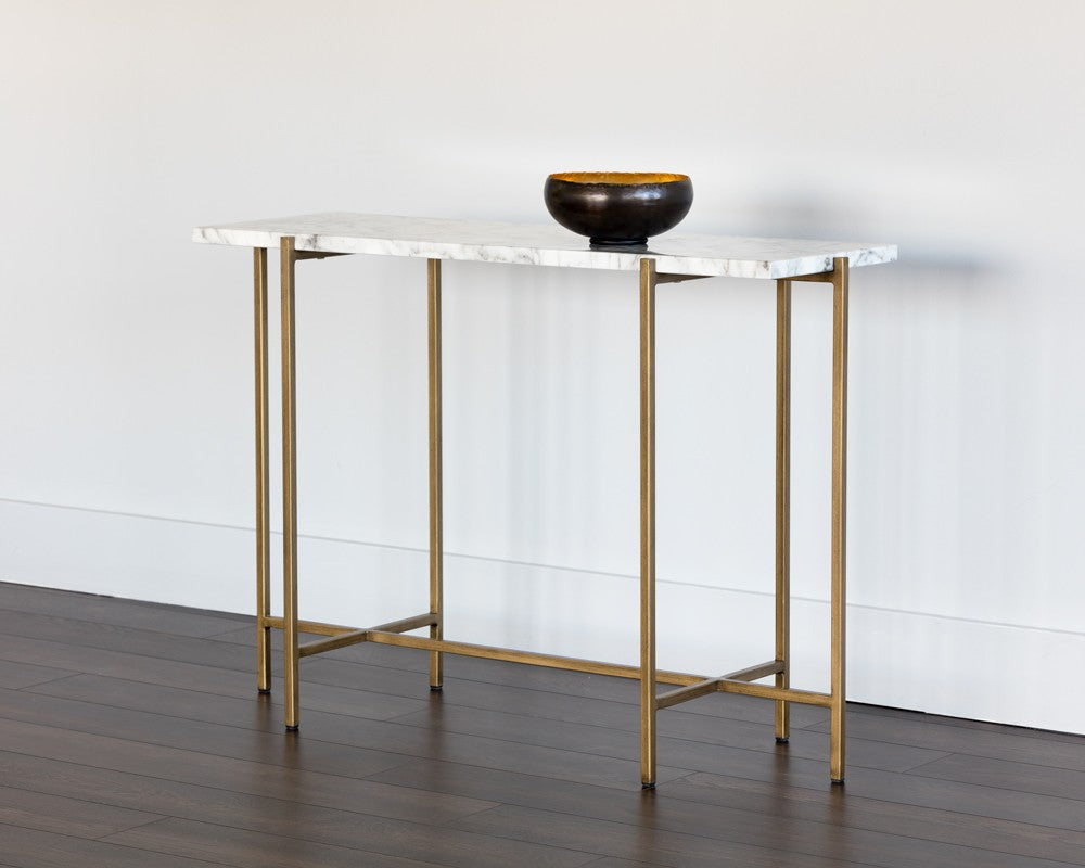 brass and metal furniture. SOLAN BRUSHED ANTIQUE BRASS STEEL BASE CARRARA MARBLE TOP CONSOLE TABLE Brass And Metal Furniture