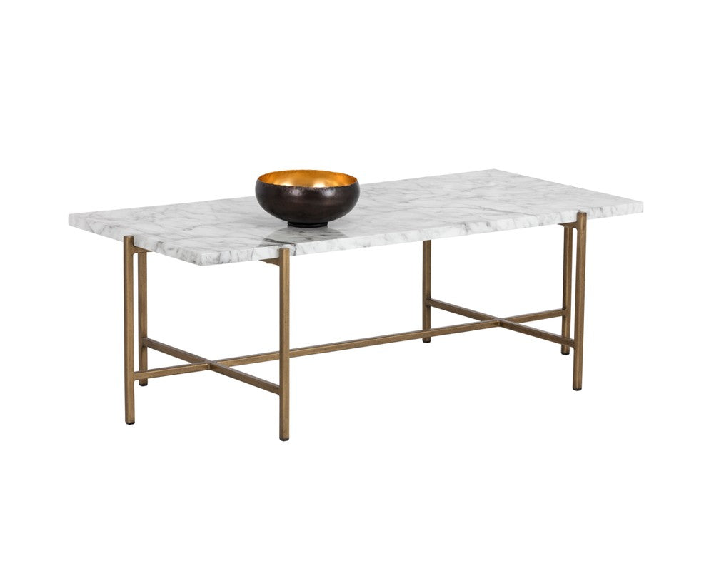 Marble Top Brass Coffee Table.Solan Brushed Antique Brass Steel Base Carrara Marble Top Rectangular Coffee Table Bright Modern Furniture