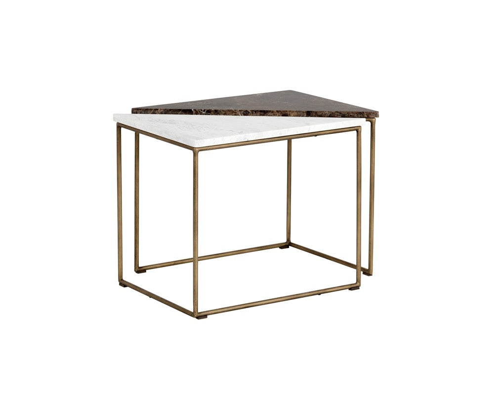 Turbine Antique Brass Steel Frame With Solid White Marble Top End Tabl