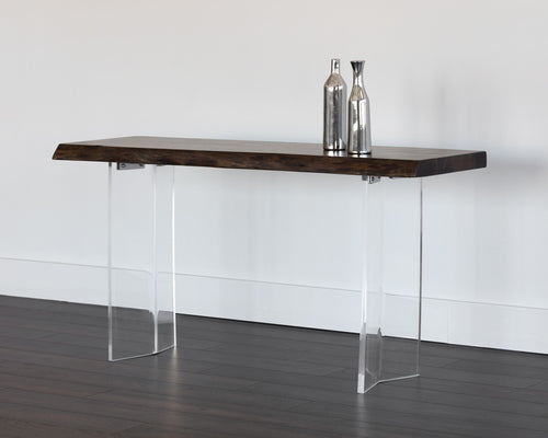 ROSA ACRYLIC BASE NATURAL ACACIA WOOD WITH DARK WALNUT FINISH TOP CONSOLE TABLE for $2260.00