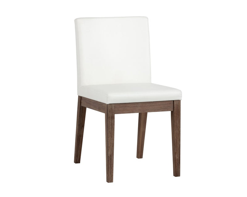 BRANDON WHITE SOFT FAUX LEATHER WITH SOLID WALNUT DISTRESSED FINISH LEGS DINING CHAIR for $890.00