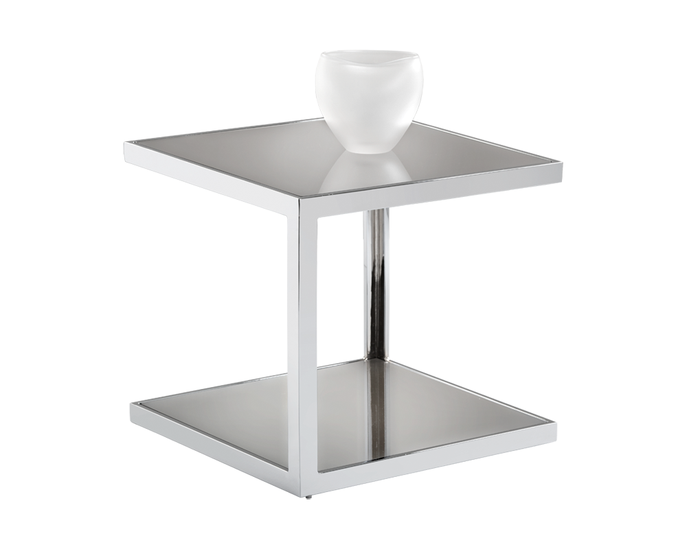 Norah Heavy Chrome Finished Base With A Mirrored Glass Top End Table
