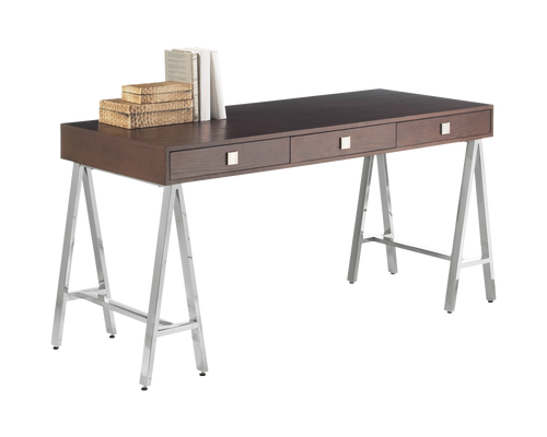 EMBRACE DISTRESSED OAK VENEER IN MEDIUM BROWN FINISH TRESTLE STYLE STAINLESS STEEL BASE DESK for $1850.00