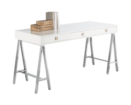 EMBRACE DISTRESSED OAK VENEER IN A HIGH GLOSS WHITE FINISH TRESTLE STYLE STAINLESS STEEL BASE DESK for $1850.00