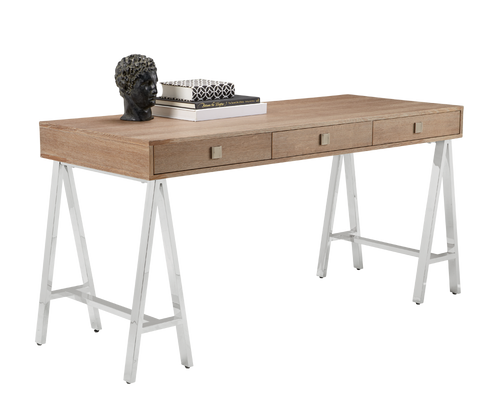 EMBRACE DISTRESSED OAK VENEER IN DRIFTWOOD FINISH TRESTLE STYLE STAINLESS STEEL BASE DESK for $1850.00