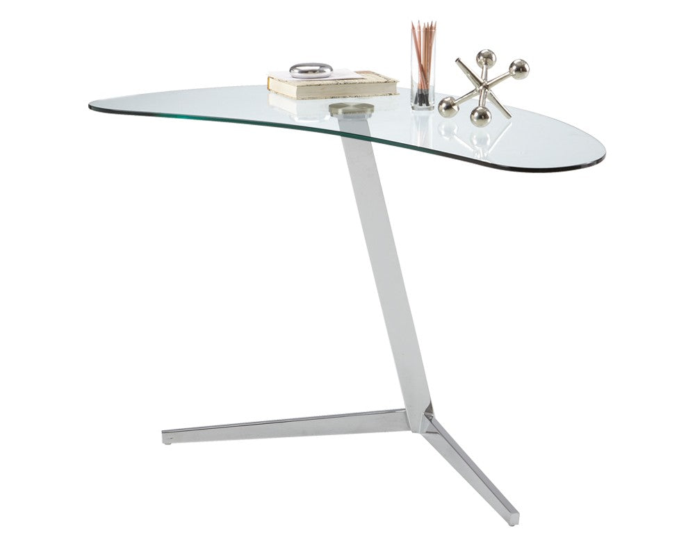 ... CAMP UNIQUELY SHAPED TEMPERED GLASS TOP WITH HIGH SHINE CHROME FINISHED  BASE WRITING DESK ...