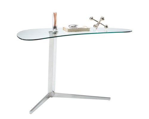 CAMP UNIQUELY SHAPED TEMPERED GLASS TOP WITH HIGH SHINE CHROME FINISHED BASE WRITING DESK for $1100.00