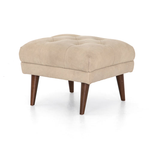 LANNERT LEATHER OTTOMAN-UMBER NATURAL for $550.00