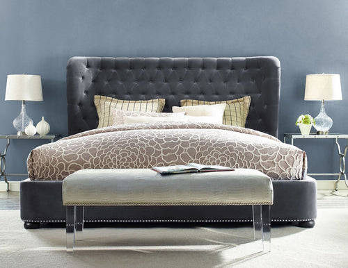 FIN GREY VELVET BED - QUEEN for $2550.00