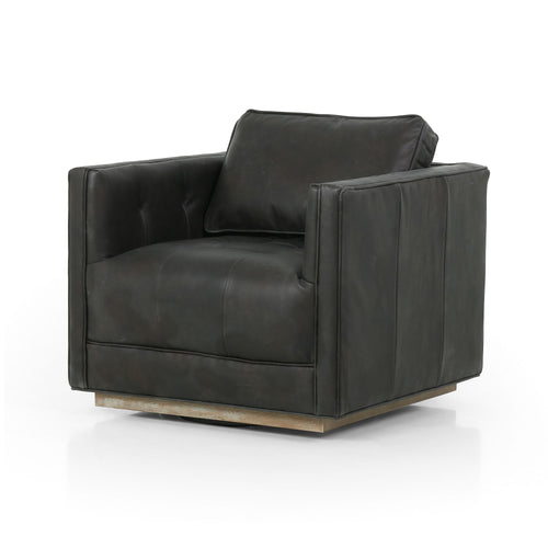 MONACO LEATHER SWIVEL CHAIR-UMBER BLACK for $1750.00