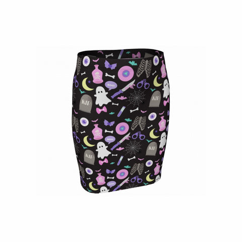 Black Creepy Party Bodycon Skirt